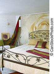cama, feito, ferro forjado, clássicas