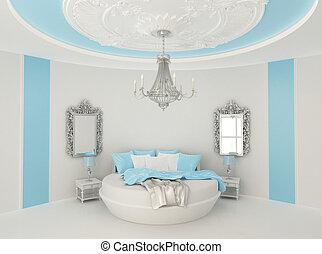 cama, habitación, barroco, redondo, lujoso, muebles, azul, ...