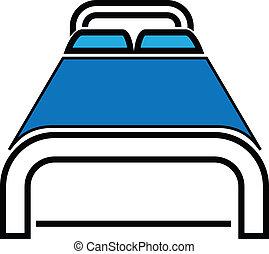 cama, icono, vector, ilustración