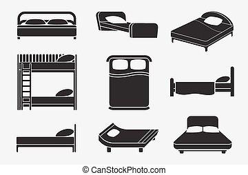 cama, iconos, conjunto