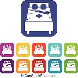 cama, iconos, conjunto, plano