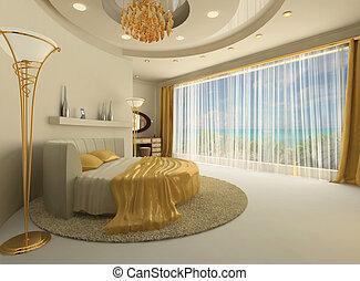 cama, interior, redondo, lujoso, ventana, grande