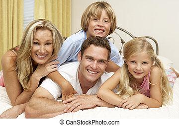cama, lar, relaxante, família