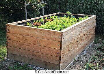 cama levantada, en, un, jardín