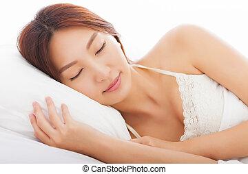 cama, mulher bonita, dormir, jovem