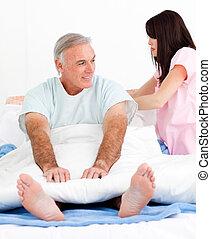 cama, paciente, afixando, atento, dela, enfermeira