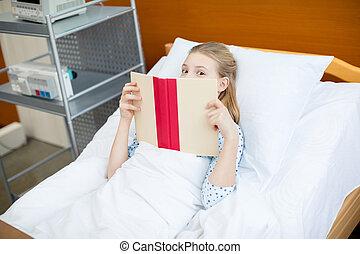 cama, pequeno, hospitalar, menina