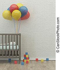 cama, render, sala, imagem, interior, crianças, 3d, balões