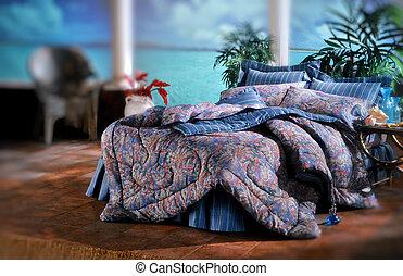 cama, sala, jogo, com, bedding, e, janela, luz, (all,...