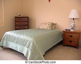 cama, sala, poço, iluminado, por, luz dia