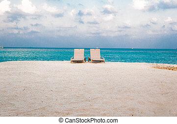 cama sol, ligado, a, costa mar, -, areia branca, mar, -, vista, de, frente, -, lu