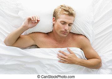 cama, sueño, hombre, acostado