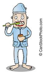 cama, toothbrushing, ir, antes de
