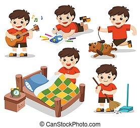 cama, vector, niño, clean]., juego, corra, rutina, aislado, guitarra, background.[make, deberes, dibujo, blanco, diario, perro, lindo, el suyo