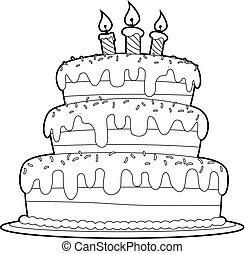 camada, coloração, esboçado, três, livro, bolo