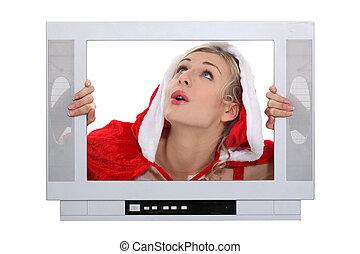 camada, mulher, tv, quadro, atrás de, natal