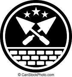 camada, tijolo, emblema