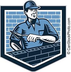 camada, trabalhador, pedreiro, retro, alvenaria, tijolo