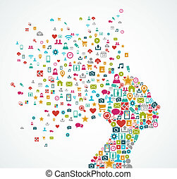 camadas, cabeça, conceito, silueta, illustration., eps10, ícones, mídia, organizado, vetorial, editing., mulher, fácil, social, arquivo, feito, respingo