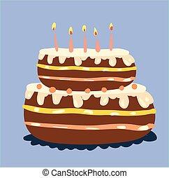 camadas, cor, velas, dois, ilustração, desenho, glowing, vetorial, bolo, decorado, ou