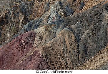 camadas, geológico, exposto