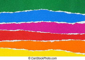 camadas, papel rasgado, coloridos