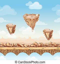 camadas, pontes, separado, natureza, seamless, ilustração, pedras, jogo, vetorial, pedras, caricatura, paisagem, design.