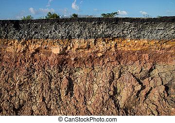camadas, solo, indicar, meio-fio, tempestades, Erosão