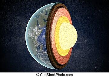 camadas, structure., representado, illustration., terra, 3d
