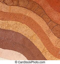 camadas, terra, solo, de, natural, geologia
