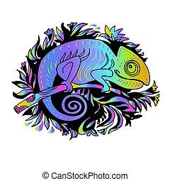 camaleão, arco íris, doodle, estilo, desenhado, mão, illuminating., amarela