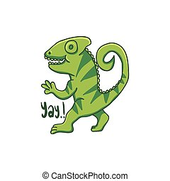 camaleão, ilustração, mão, vetorial, desenhado, caricatura
