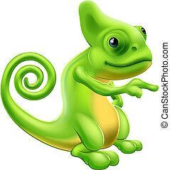 camaleão, mascote, apontar