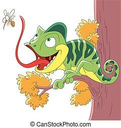 camaleão, pernilongo, caricatura
