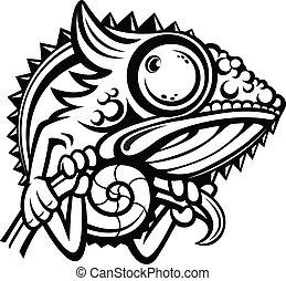 camaleão, personagem, esboço, caricatura