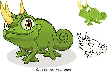 camaleão, personagem, jackson's, desenho, caricatura, mascote