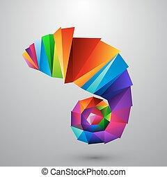 camaleón, logotipo, color, triangles.