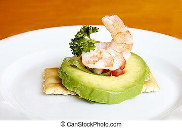 camarão, abacate, aperitivo