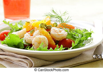 camarão assado, salada, laranja