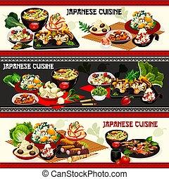camarão, vegetal, miso, saladas, arroz, japoneses, carne