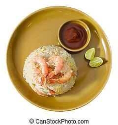 camarón, arroz frito, con, salsa, blanco, plano de fondo