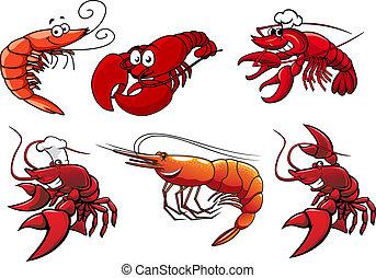 camarón, langostas, mariscos, caracteres, gambas