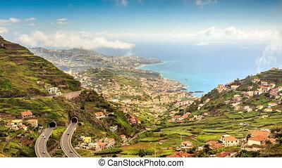Camara de lobos, view from way to Cabo Girao, Madeira, Portugal