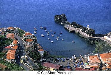 view of the port of Camara de Lobos in the island of Madeira, Portugal