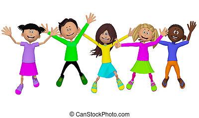 camarades classe, enfants, amis, heureux
