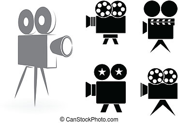 camaras, vídeo, iconos