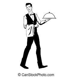 camarero, bandeja, elegante