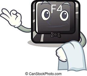 camarero, botón, f4, forma, caricatura