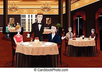 camarero, clientes, porción