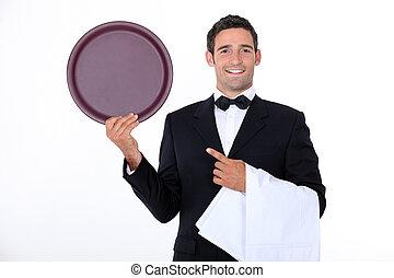 camarero, con, el suyo, bandeja